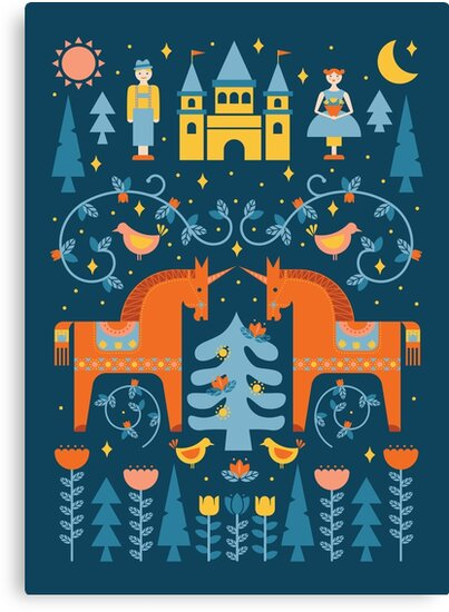 Fairy Tale in Blue + Orange by latheandquill