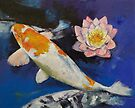Gin Rin Koi and Water Lily by Michael Creese