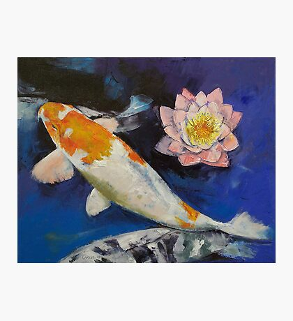 Gin Rin Koi and Water Lily Photographic Print