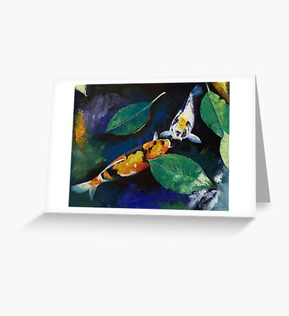 Koi and Banyan Leaves Greeting Card