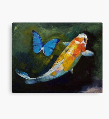 Kujaku Koi and Butterfly Canvas Print
