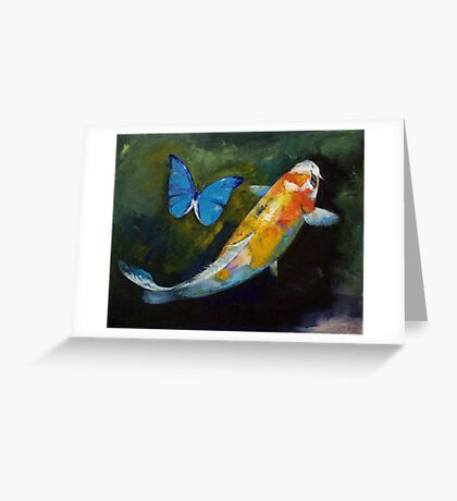 Kujaku Koi and Butterfly Greeting Card
