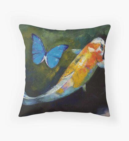 Kujaku Koi and Butterfly Throw Pillow