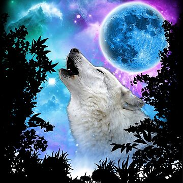 Grey Wolf MidNight Howling Forest by ratherkool