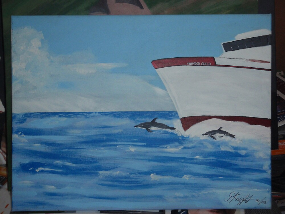 dolphin freedom (acrylic on canvas) by geoffsartstudio