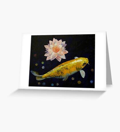 Yamabuki Ogon Koi Greeting Card