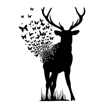 Beer Becomes a Kaleidoscope of Butterflies - Butterfies Fluttering out of Deer, Elk, Stag, Nature Lovers Gifts  by manbird