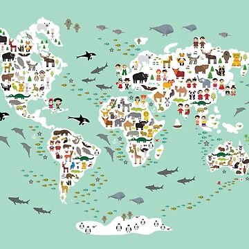 Cartoon animal world map for children and kids, back to schhool. Animals from all over the world white continents islands on mint background of ocean and sea. Scandinavian decor.  by EkaterinaP