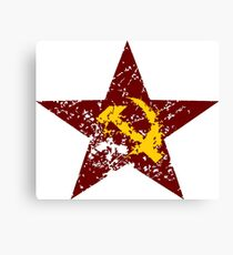 Red star hammer and sickle rusty revolution Canvas Print