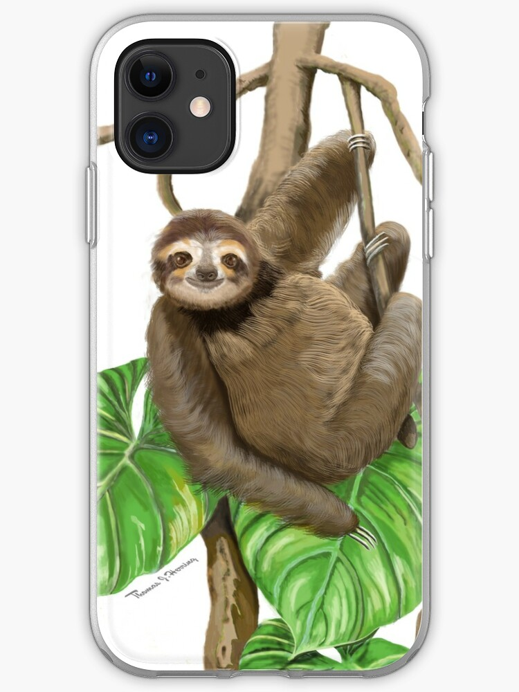 Cute Sloth Hanging On Vine Iphone Case Cover By Tjhstudio Redbubble