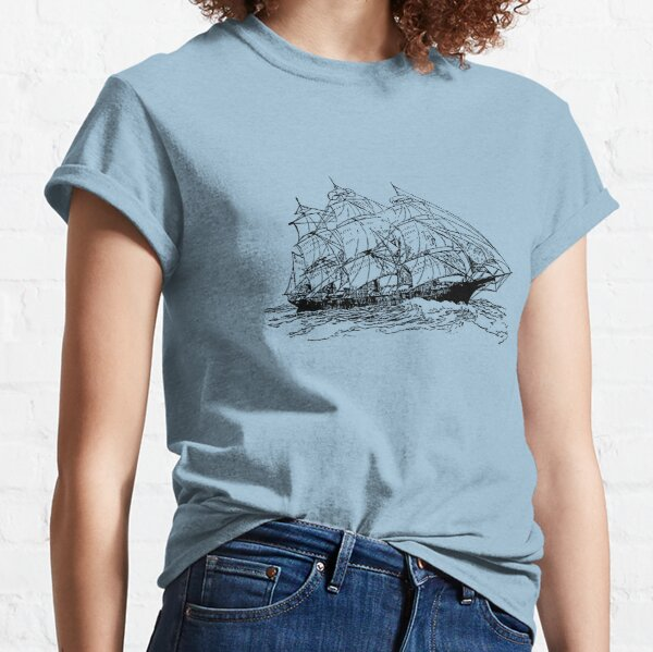 Old sailboat on the sea Classic T-Shirt