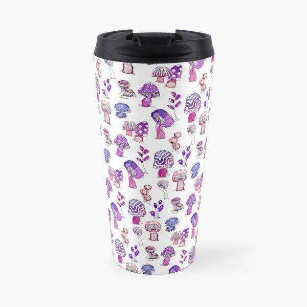 Purple Mushroom Garden Pattern  Travel Mug