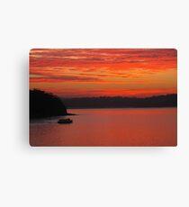 Bundeena Ferry heading home at sunset Canvas Print