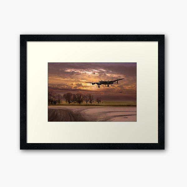 Morning return: Lancasters at sunrise Framed Art Print
