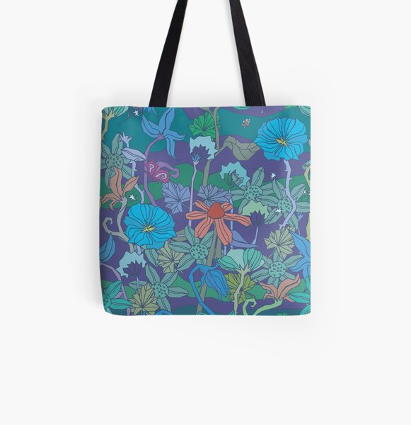 Flower blue All Over Print Tote Bag
