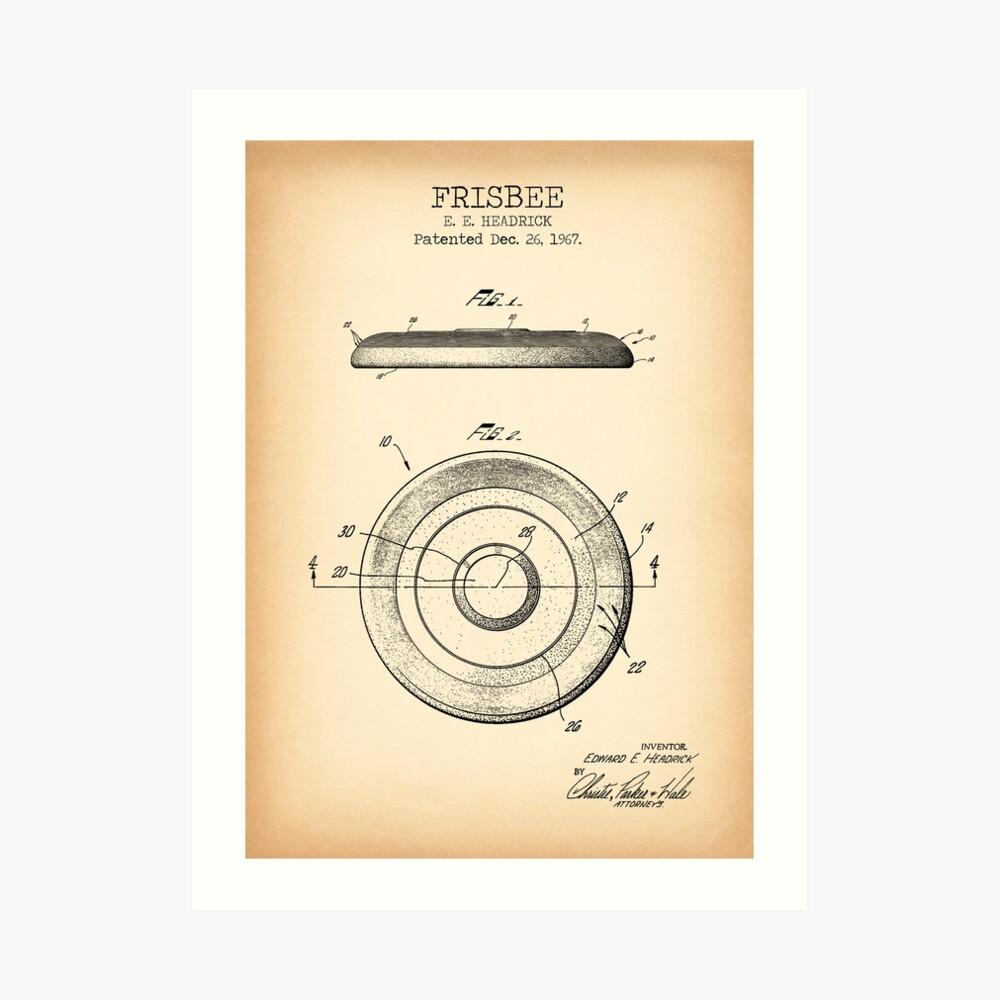 Patente vintage FRISBEE Lámina artística