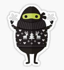 Ninjacado im Feiertagsstrickjacke Sticker