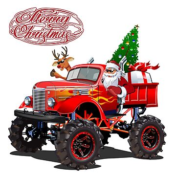 Christmas card with cartoon retro Christmas monster truck by Mechanick