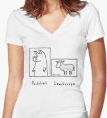 Porktrait Women's Fitted V-Neck T-Shirt