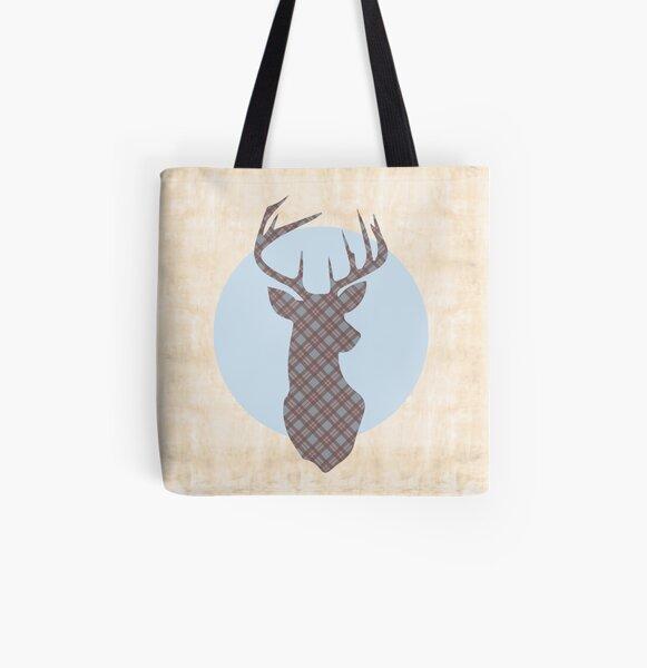 Scottish Tartan Highland Stag All Over Print Tote Bag