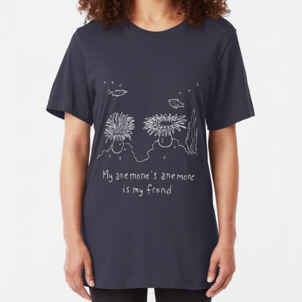My anemones's anemone is my frond - Pale print for dark t-shirts Slim Fit T-Shirt