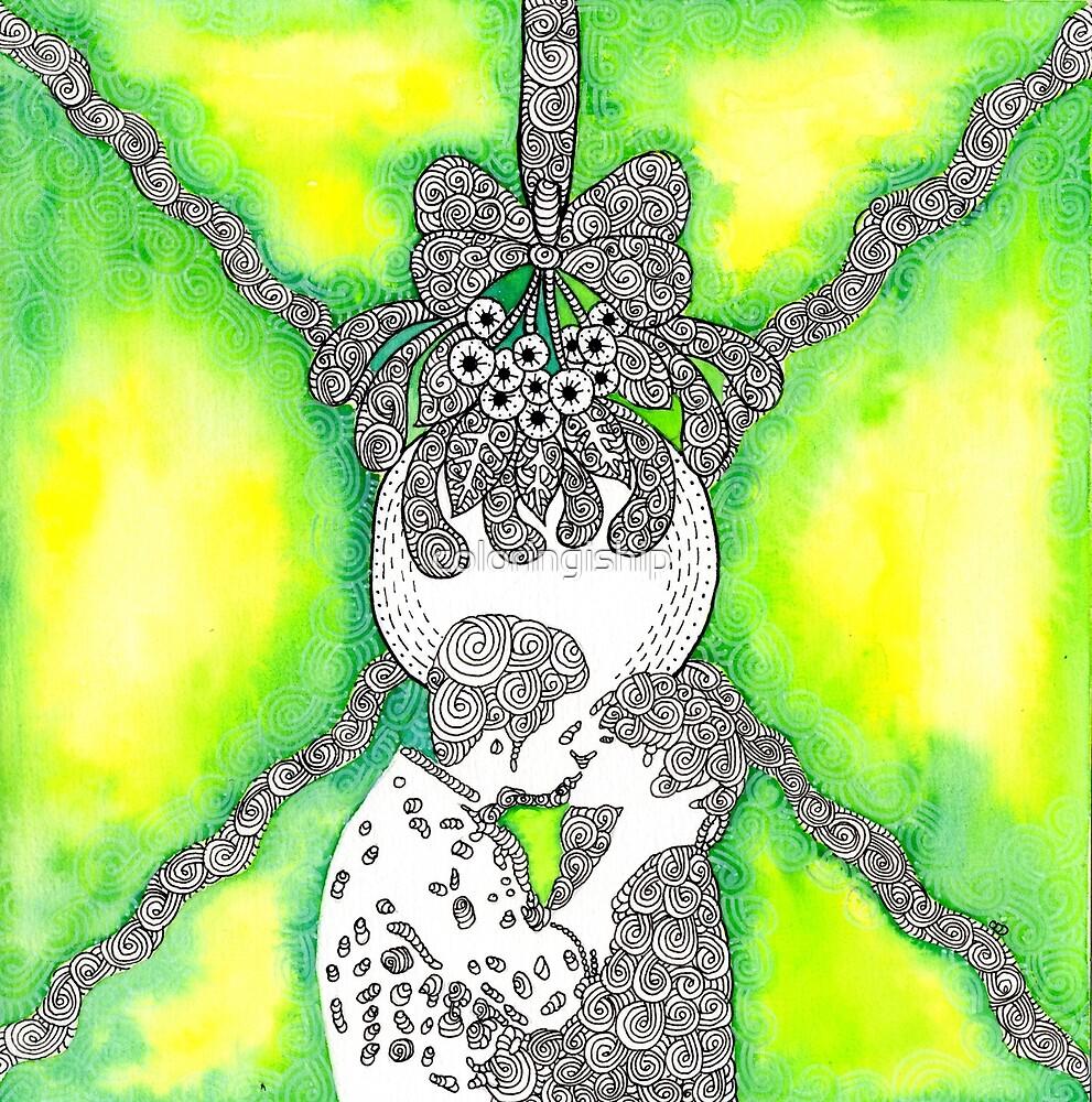 Watercolor Doodle   Kiss Beneath the Mistletoe by coloringiship