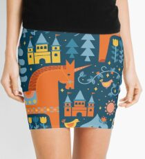 Fairy Tale in Blue + Orange Mini Skirt