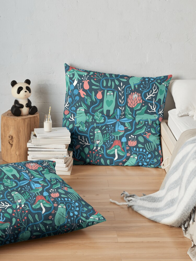 Alternate view of Sloths garden Floor Pillow