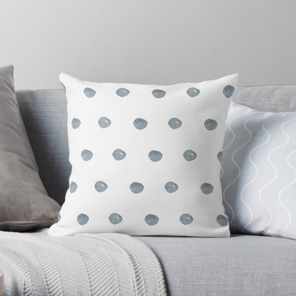 Watercolor Polka Dots Grey Throw Pillow