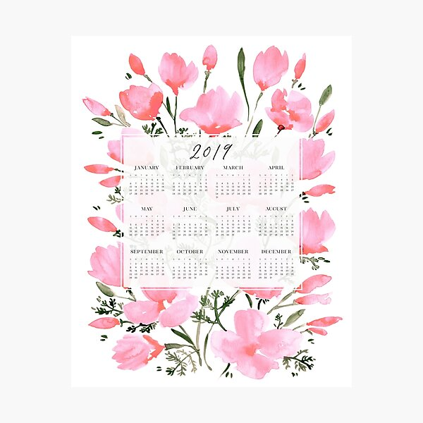 2019 calendar with pink watercolor poppies Photographic Print