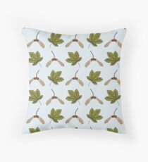 Sycamore Leaves and Seeds Throw Pillow