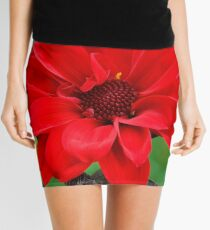 Dahlia Bishop of Llandaff Crimson Red Flower Mini Skirt