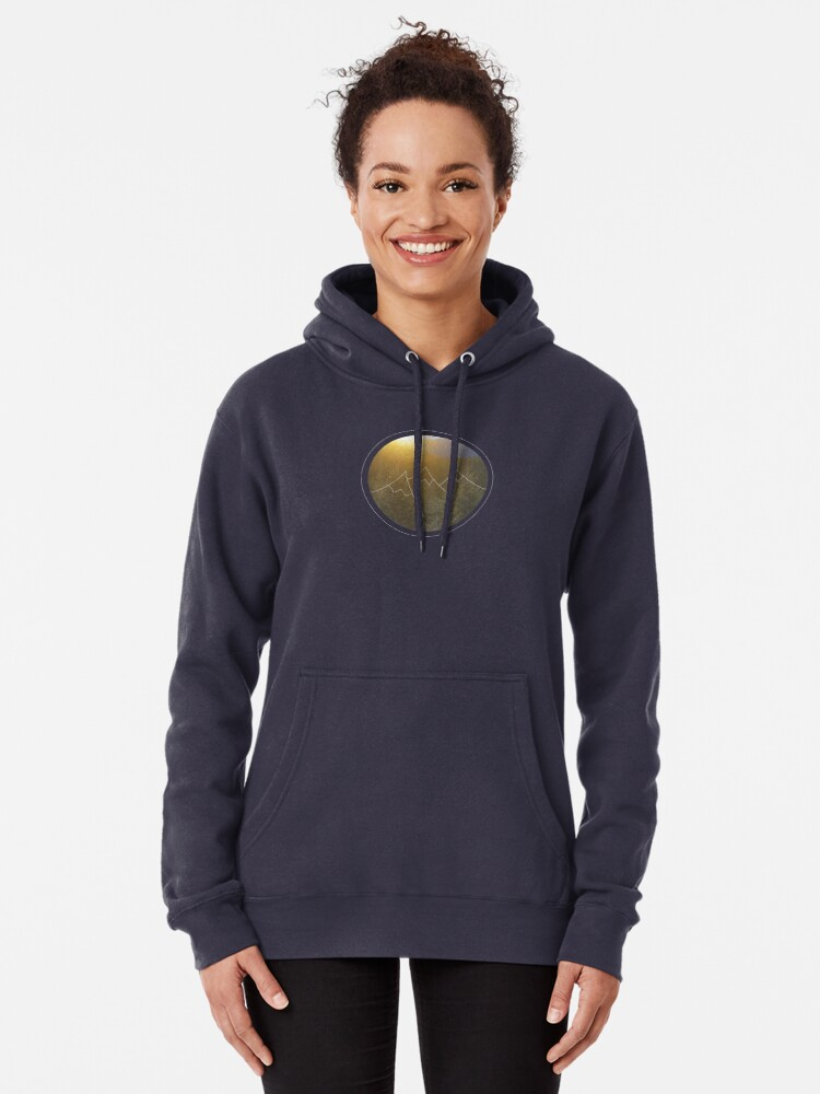 Alternate view of Mountain sunrise in Winter Pullover Hoodie