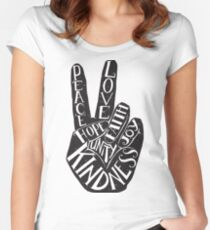 Peace Sign with words Peace, Love, Faith, Joy, Hope, Kindness, Unity Women's Fitted Scoop T-Shirt
