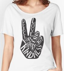 Peace Sign with words Peace, Love, Faith, Joy, Hope, Kindness, Unity Women's Relaxed Fit T-Shirt
