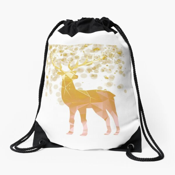 Reindeer Christmas Gold Vector Graphic Drawstring Bag