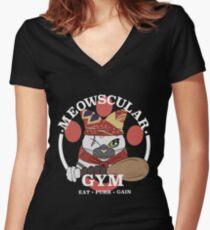 Meowscular Gym Women's Fitted V-Neck T-Shirt