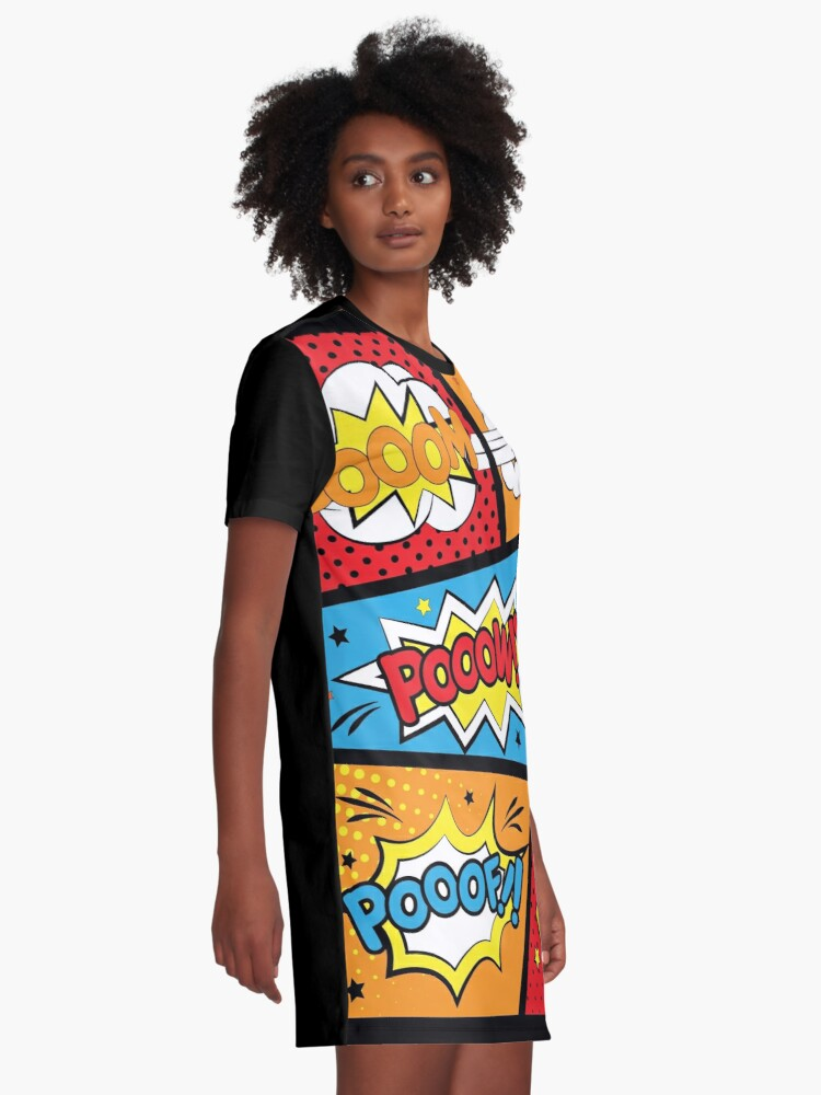 Alternate view of Comic Pop Art Explosions Bomb Graphic T-Shirt Dress