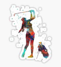 Girl golfer, golfer, watercolor girl golfer Sticker