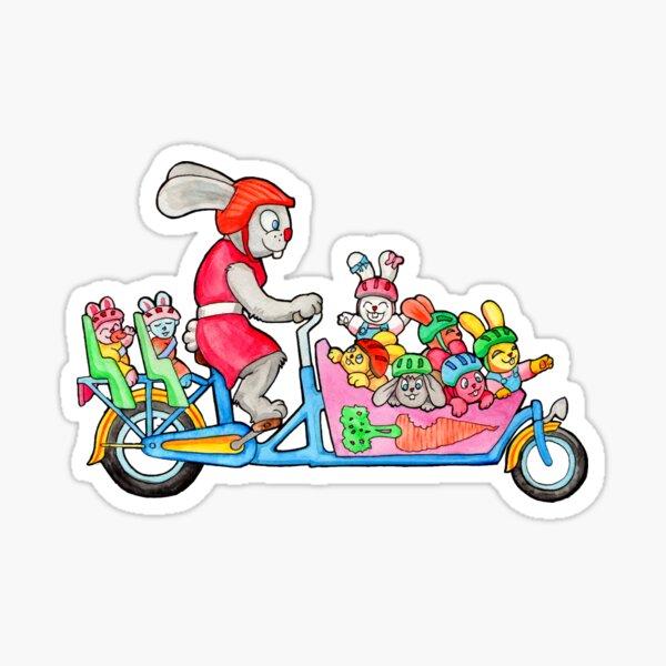 Bunny Family on a Cargo Bike Sticker