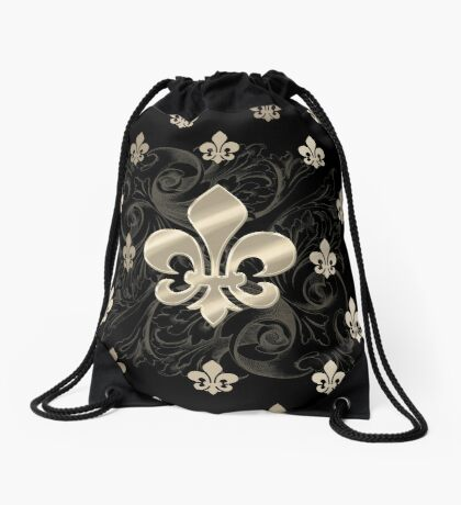 Fleur De Lys-Black & Gold Drawstring Bag