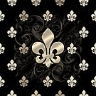 Fleur De Lys-Black & Gold by Susan Sowers