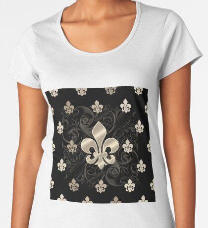 Fleur De Lys-Black & Gold Women's Premium T-Shirt