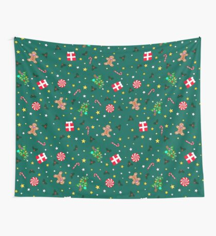Christmas Holidays - Green Wall Tapestry