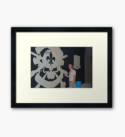 Josh King painting T-wall in Balad Iraq Framed Print