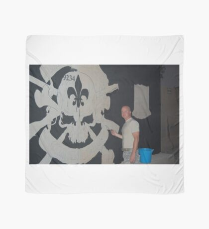 Josh King painting T-wall in Balad Iraq Scarf