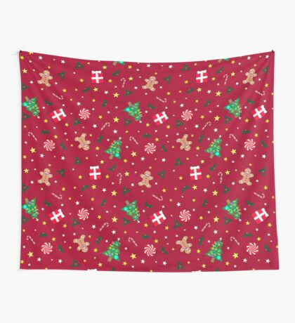 Christmas Holidays - Red Wall Tapestry