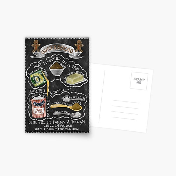 Chalkboard Gingerbread Illustrated Recipe Postcard