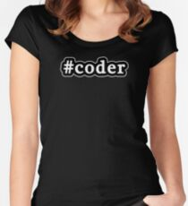Coder - Hashtag - Black & White Women's Fitted Scoop T-Shirt