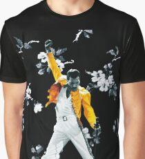 Fredddie Mercury Yellow Jacket in Flowers Graphic T-Shirt